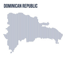 Vector Abstract Hatched Map Of Dominican Republic With Vertical Lines Isolated On A White Background.
