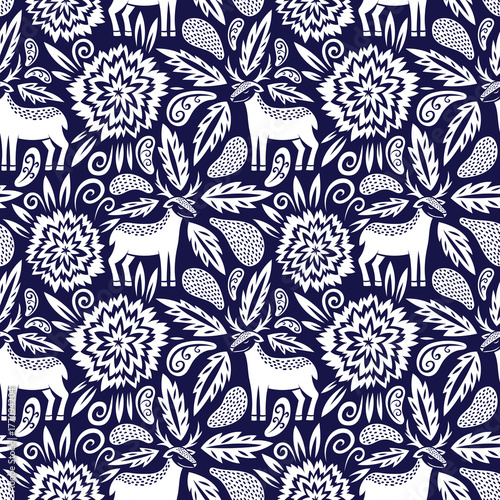 Deer and flowers vector seamless pattern