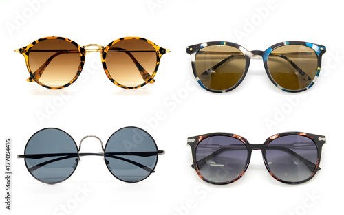 Group of beautiful sunglasses isolated on white background.