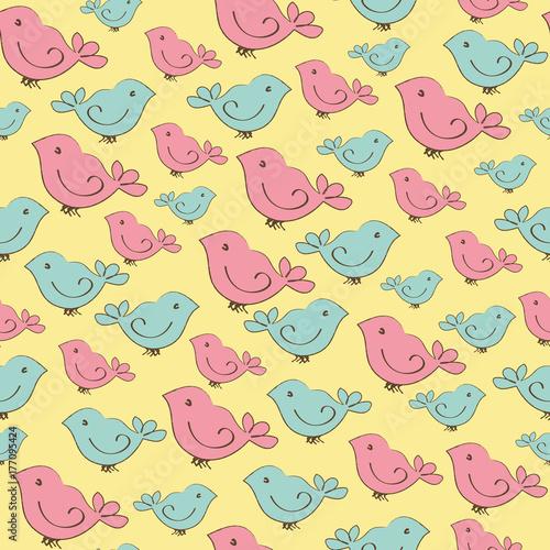 zolte-tlo-z-malymi-ptaszkami-w-dwoch-kolorach