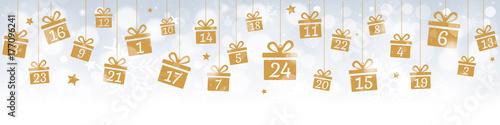 Cuadros en Lienzo Calendrier de l'avent avec cadeaux dorés suspendus