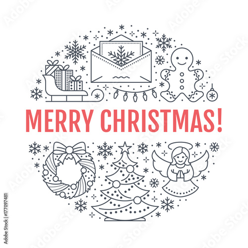 christmas new year banner illustration vector line icon of winter holidays christmas tree gifts