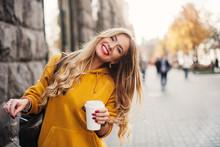 Stylish Happy Young Woman Wear...