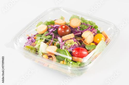 fresh vegetable Takeaway salad on white background