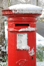 British Postbox Close Up In Snow