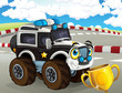 cartoon scene with happy smiling police monster truck on the race truck illustration for children