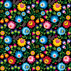 Seamless vector Polish folk art floral pattern - Wzory Lowickie, Wycinanki on black background