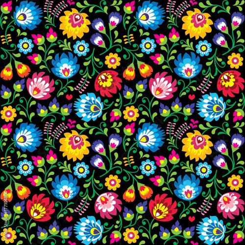 wektor-bez-szwu-polskiej-sztuki-ludowej-kwiatowy-wzor-wzory-lowickie-wycinanki-na-czarnym-tle