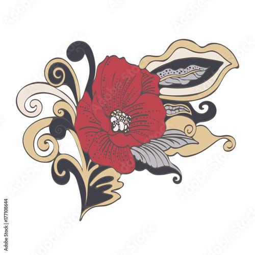 Abstract Flower Cartoon Vector Hand Drawn Red Bud Poppy Flower