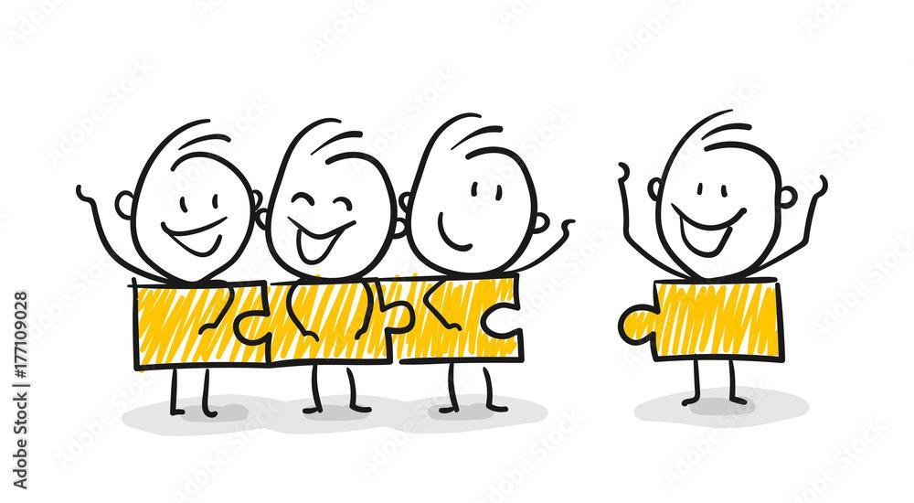 Fototapeta Strichfiguren / Strichmännchen: . Mitglieder, Teamwork, Familie, Puzzle. (Nr. 142)