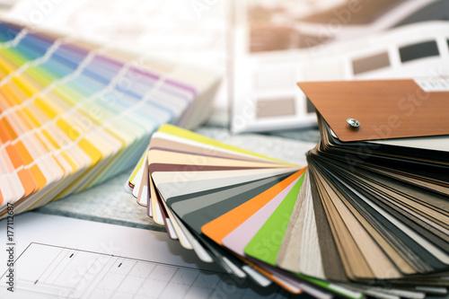Fotomural interior design - paint color and furniture material samples
