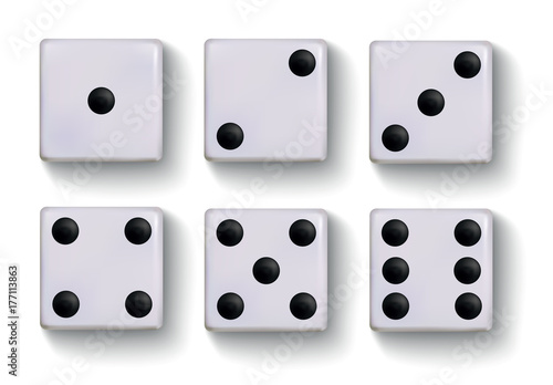 Obraz na płótnie Set of vector realistic white dice isolated on white background