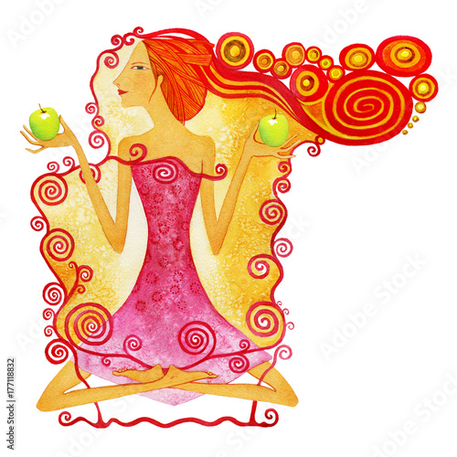 Sign of the Zodiac Libra, Young barefoot woman with red hair