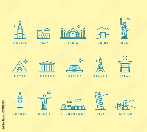 Photo Tourist icons of attractions: Russia, Italy, India, China, USA, Egypt, Greece, Mexico, France, Japan, London, Brazil, Stonehenge, Pisa, Rapa Nui