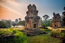 Angkor Thom Gardens Near The Elephants Terrace Within The Angkor Temples, Cambodia. Angkor Wat Temple Is The Largest Religious Monument In The World. Ancient Khmer Architecture