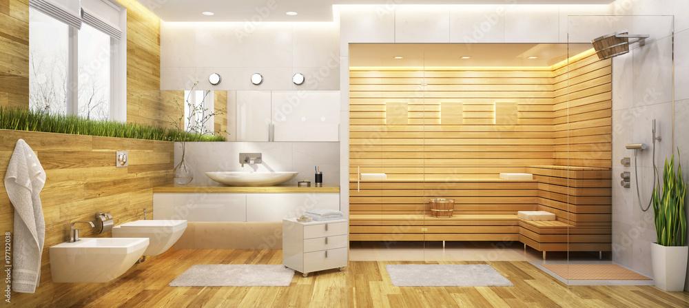 Fototapeta Modern sauna and a bathroom