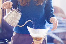 Barista Girl Brewing Coffee