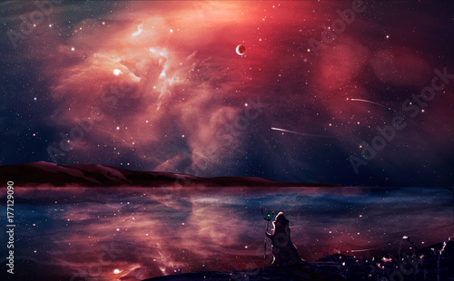 Fotobehang Zwart Sci-fi landscape digital painting with nebula, magician, planet, and lake in red color