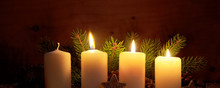 Three Burning Advent Candles A...