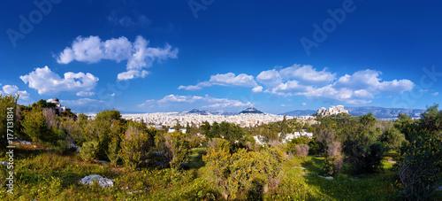 Staande foto Athene Athen Panorama mit Akropolis