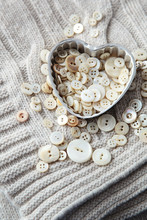 Heart Shaped Container With Pearl Buttons