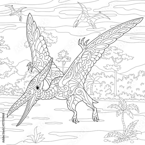 Fotografie, Obraz  Coloring page of pterodactyl dinosaur - pterosaur of the late Jurassic period