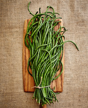 Chinese Long Beans On Burlap Surface