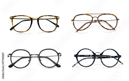 Group of modern fashionable spectacles. Perfect reflection, Glasses