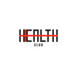 Inscription Health logo word with cross shape, lettering creative idea healthy diet, medical clinic or sports club emblem