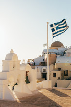 Greek Flag On The Roofs Of The...