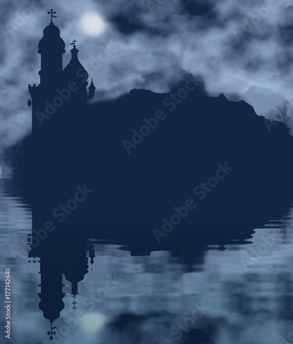 Foto op Canvas Zwart Castle silhouette and moon with water reflection