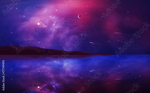 Aluminium Prints Violet Sci-fi landscape digital painting with nebula, planet and lake in violet color. Elements furnished by NASA. 3D rendering