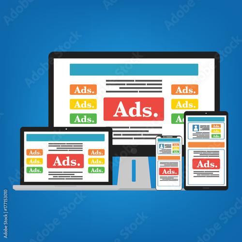 Fototapeta Smartphone mobile, Computer PC, Laptop and Tablet with social media advertising website. Vector illustration social ads digital marketing concept. obraz