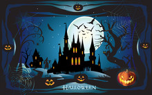 Halloween Night Background With Pumpkin, Bat, Spider Web, Fantasy Forest, Haunted House And Full Moon. Wallpaper Or Invitation Template Halloween Party, Adwertising Vector Illustration.