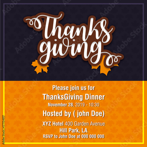 Hand drawn Happy Thanksgiving Day Poster Poster