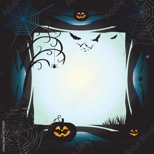 Halloween Night Background With Pumpkin Bat Spider Web Fantasy