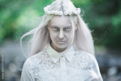 Valokuva  portrait of albino women, halloween begins,winter is coming