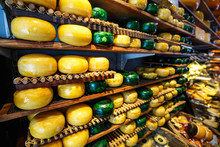Cheese Wheels Green And Yellow Colors On Wooden Shelves At Cheesemaking Shop. Dutch Round Cheese Put Up For Sale On Display In Store At Amsterdam, Netherlands.