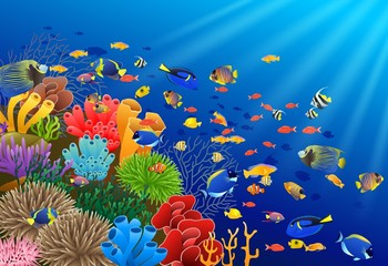 Fototapeta na wymiar Fish swim in the underwater and coral. Vector illustration