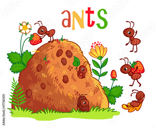 Photo Vector illustration with an anthill and ants