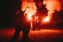 Two Krampus Making Fire Show W...