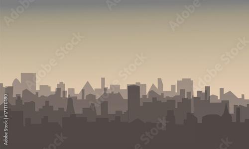 Foto op Plexiglas Grijs Vector illustration of modern city residential area