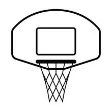 A Basketball Net With Backboard.
