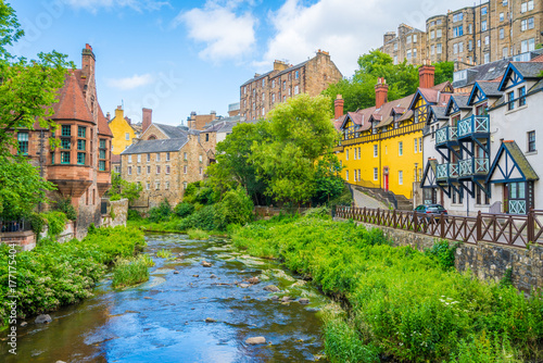 Fototapeta The scenic Dean Village in a sunny afternoon, in Edinburgh, Scotland