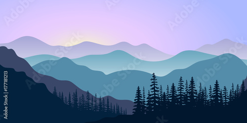 Foto op Plexiglas Purper landscape with silhouettes of mountains and forest at sunrise. Vector illustration
