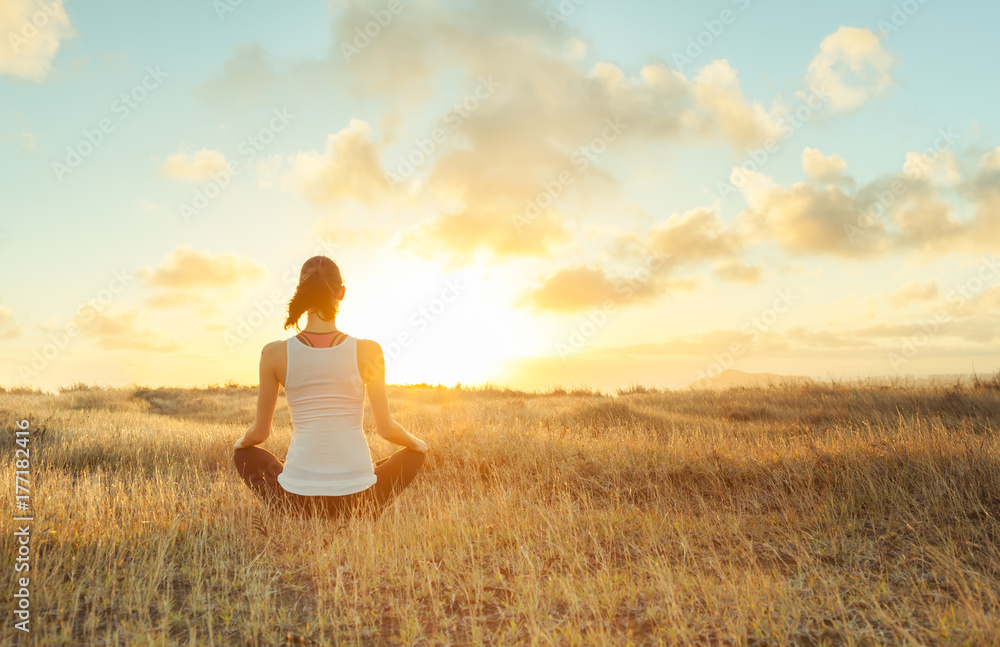 Fototapeta Meditation, yoga, feeling at peace