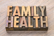 family health word abstract in wood type