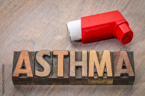 asthma word abstract in wood type Canvas Print