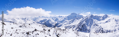 Snowy mountain landscape at the height of caucasus mountains #177188675