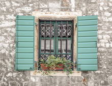 Window With Flowers And Wooden...